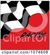 Clipart Checkered Racing Flag On Red With Text Royalty Free Vector Illustration