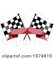 Clipart Two Crossed Checkered Racing Flags And A Red Banner Royalty Free Vector Illustration by Pams Clipart #COLLC1074610-0007