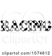 Clipart The Word RACING With A Checkered Flag Pattern Royalty Free Vector Illustration