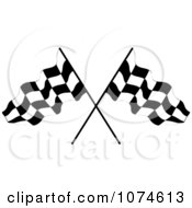 Clipart Two Crossed Checkered Racing Flags 1 Royalty Free Vector Illustration