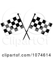 Clipart Two Crossed Checkered Racing Flags 2 Royalty Free Vector Illustration