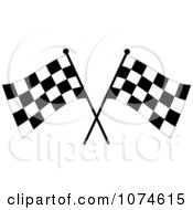 Clipart Two Crossed Checkered Racing Flags 3 Royalty Free Vector Illustration