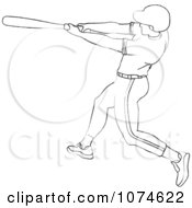 Clipart Outlined Baseball Batter Royalty Free Vector Illustration by Pams Clipart