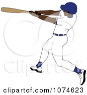 Clipart Baseball Batter Black Man In A Blue Helmet Royalty Free Vector Illustration by Pams Clipart