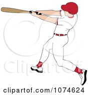 Clipart Baseball Batter Caucasian Man In A Red Helmet Royalty Free Vector Illustration by Pams Clipart