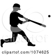 Clipart Silhouetted Baseball Player Batting Royalty Free Vector Illustration by Pams Clipart