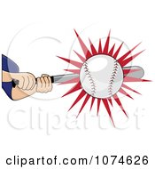 Clipart Baseball Batter Whacking A Ball Royalty Free Vector Illustration