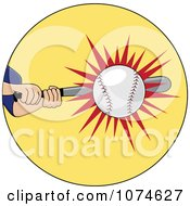 Clipart Baseball Batter Hitting A Ball Royalty Free Vector Illustration by Pams Clipart