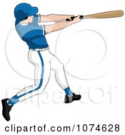 Clipart Baseball Batter Caucasian Man In A Blue Helmet Royalty Free Vector Illustration by Pams Clipart