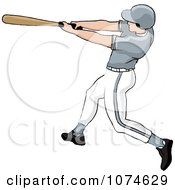 Clipart Baseball Batter Caucasian Man In A Gray Helmet Royalty Free Vector Illustration by Pams Clipart