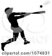 Clipart Black Silhouetted Baseball Batter Royalty Free Vector Illustration