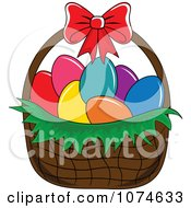 Clipart Dyed Eggs In An Easter Basket 1 Royalty Free Vector Illustration by Pams Clipart