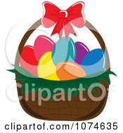 Clipart Dyed Eggs In An Easter Basket 2 Royalty Free Vector Illustration