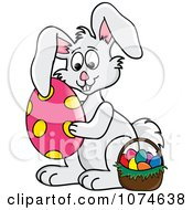 Clipart Gray Easter Bunny Hugging An Egg By A Basket 1 Royalty Free Vector Illustration
