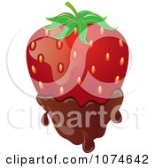 Clipart 3d Strawberry Dipped In Milk Chocolate Royalty Free Vector Illustration