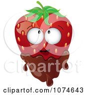 Clipart 3d Strawberry Character Dipped In Milk Chocolate Royalty Free Vector Illustration by Pams Clipart