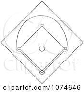 Clipart Outlined Baseball Diamond Field Royalty Free Vector Illustration