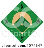 Clipart Black Silhouetted Players On A Baseball Diamond Field Royalty Free Vector Illustration