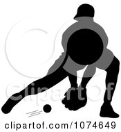 Clipart Silhouetted Baseball Player Catching A Ground Ball Royalty Free Vector Illustration