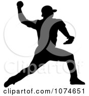 Clipart Silhouetted Baseball Player Pitching Royalty Free Vector Illustration