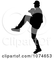 Clipart Black Silhouetted Baseball Pitcher Royalty Free Vector Illustration