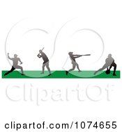Clipart Silhouetted Baseball Players In A Field 2 Royalty Free Vector Illustration