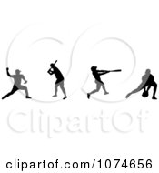 Clipart Silhouetted Baseball Players Royalty Free Vector Illustration