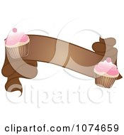 Clipart Brown Banner With Cherry Frosted Cupcakes Royalty Free Vector Illustration