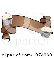 Brown Banner With Vanilla Frosted Cupcakes