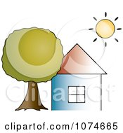 Clipart The Sun Shining Over A House With A Big Tree Royalty Free Vector Illustration by Pams Clipart