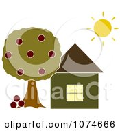 Clipart The Sun Shining Over A House With An Apple Tree Royalty Free Vector Illustration by Pams Clipart