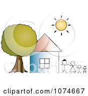 Clipart The Sun Shining Over A House And Stick Peole Royalty Free Vector Illustration by Pams Clipart