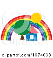 Clipart House And Tree Under A Rainbow Arch Royalty Free Vector Illustration by Pams Clipart