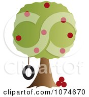 Clipart Tire Swing Hanging From An Apple Tree Royalty Free Vector Illustration by Pams Clipart