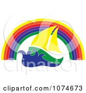 Clipart Sail Boat Under A Rainbow Arch Royalty Free Vector Illustration