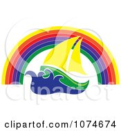 Clipart Sailing Boat Under A Rainbow Arch Royalty Free Vector Illustration by Pams Clipart