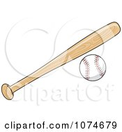Clipart Wooden Baseball Bat And Ball Royalty Free Vector Illustration
