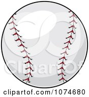 Clipart Red Stitched Baseball Royalty Free Vector Illustration