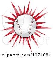 Baseball Over A Red Burst