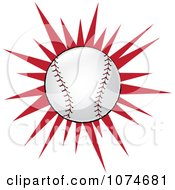 Clipart Baseball Over A Red Burst Royalty Free Vector Illustration