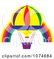 Clipart Hot Air Balloon And Rainbow Arch 1 Royalty Free Vector Illustration