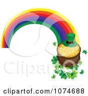 Leprechaun Hat And Pot Of Gold On Clovers At The End Of A Rainbow