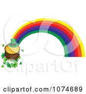 Leprechaun Hat And Pot Of Gold On Shamrocks At The End Of A Rainbow