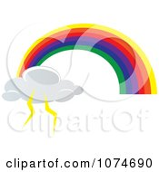 Clipart Rainbow Arch And Lightning Cloud Royalty Free Vector Illustration