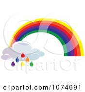 Clipart Rainbow Arch And Colorful Rain Drop Cloud Royalty Free Vector Illustration