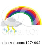 Clipart Rainbow Arch And Electric Rain Storm Cloud Royalty Free Vector Illustration