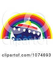 Cruiseship Under A Rainbow Arch