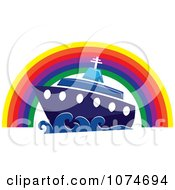 Clipart Cruise Ship Under A Rainbow Arch Royalty Free Vector Illustration