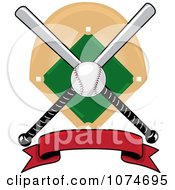 Clipart Baseball Bat Banner Field And Ball Logo 1 Royalty Free Vector Illustration