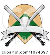 Clipart Baseball Bat Banner Field And Ball Logo 3 Royalty Free Vector Illustration by Pams Clipart #COLLC1074697-0007